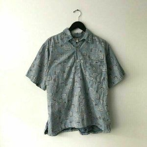 Vintage Go Barefoot Hawaiian Button Up Graphic L